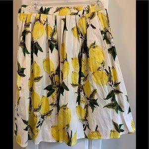 Taydey lemon print pleated skirt